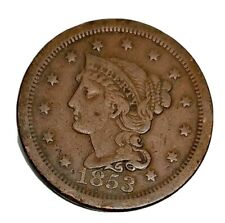 USA 1853 Liberty Head Braided Hair Cent, Large Copper Cent Scarce GVF