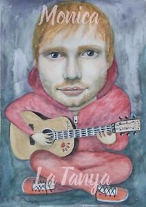 Watercolour Painting Ed Sheeran Fab painting with Nigel on guitar Fabriano Paper