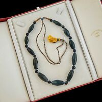 Antique Vintage Deco Chinese Carved Agate 22 Prayer Bead Expandable Necklace