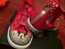 Disney minnie mouse red pink high hi top crystal converse bling Infant baby