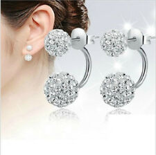 1Pair Beauty Double Beaded Rhinestone Crystal Women Silver Stud Earrings Jewelry