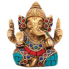 "Small Ganesha Statue Brass Ganesh Amulet Ganpati Idol Religious Decor Gifting 2"""