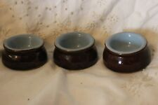 3 Denby Brown Blue butter small Pat pot dish 6.8 cm Dia