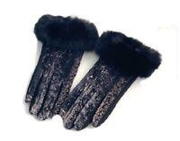 Women's Fashion Snake Skin Print  Gloves Faux Fur Trim Winter Fall