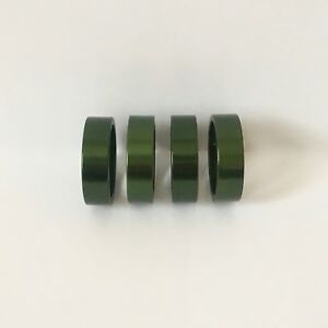"GREEN-ANODIZED BIKE BICYCLE ALLOY 1-1/8"" HEADSET SPACERS 10mm NEW"