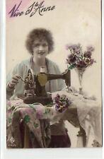 Lady Dressmaker Sewing Machine SINGER Fantasy Vive St. Anne photo postcard