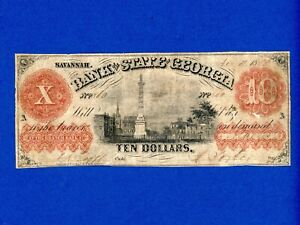 1851 $10 Bank of the State of Georgia Obsolete Currency RARE HIGHER GRADE NOTE