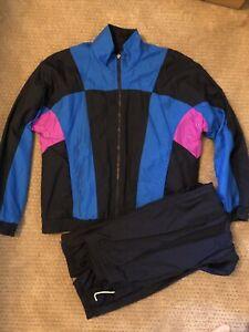 RARE Vintage 80s/90s HEAD Black Blue & Fuschia Tracksuit Mens Med Jacket & Pants