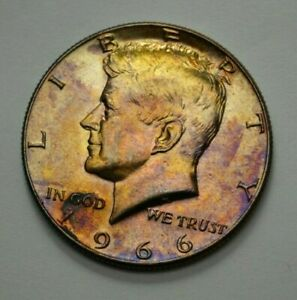 1966-P KENNEDY HALF DOLLAR SILVER COIN 50C, TONED, UNGRADED, NO RESERVE $$ !.