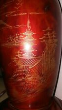 Unique Japanese Mid Century Wood And Gold Gilt Table Lamp with Mount Fuji Scene
