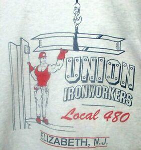 1980s Vintage UNION IRONWORKERS Local 480 Heather Gray L S/S Shirt Elizabeth NJ