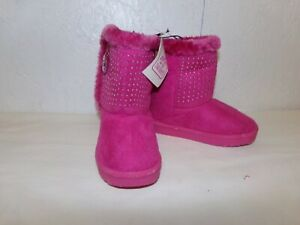 Swiggles Toddler Girls Pink Faux Fur Boots-5 OR 6-Beaded