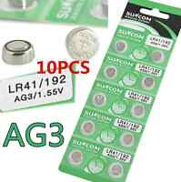10PCS 1.55V AG3 SG3 LR41/192 Alkaline Coin Button  Cell Battery For Toy Watch hs
