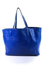 Saint Laurent Women's Reversible E/W Shopper Tote Handbag Leather Blue Black