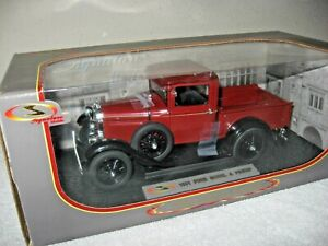 1931 FORD MODEL A PICK UP BURGUNDY 1:18 SIGNATURE OPENING HOOD DOORS & TAILGATE