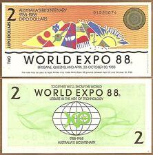 AUSTRALIA:100 BICENTENNIAL WORLD EXPO 1988 $2 BANKNOTES
