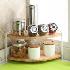 Kitchen Wooden Corner Shelf Display Rack Nuts Can Jar Storage Organizer 2-Tier