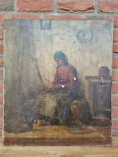antikes Ölbild Frau mit Fischernetz in Stube auf Leinwand signiert 60 x 70 cm