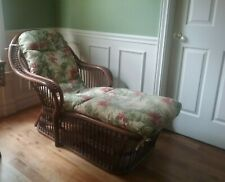 Vintage Rattan Antique Wicker Chaise Lounge with new cushion