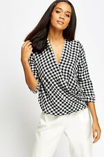 Womens Office Mono Black White Wrap Top Striped Long Sleeve Check Plunge Blouse