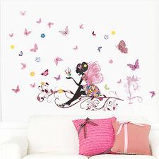 Colorful flower fairy Butterfly Girls Cartoon kids room decor Wall sticker decal