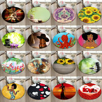 Round Flannel Yoga Mat Rugs Floor Bathmat Rug Non-slip Carpet Spring Spa Flowers