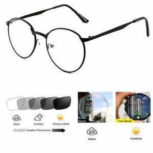 Retro Round Bifocal Transition Photochromic Aluminum-magnesium Reading Glasses