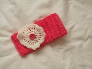Ladies Hand Knit Coral Earwarmer/Headband with Cream Decoration and Button - New