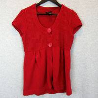 New Directions Womens Size Petite Medium Crochet Knit Top Red