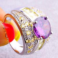 Estate Gifts Round & Emerald Cut Amethyst Citrine Gemstones Silver Ring Size 10