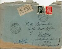 1940 Italy Registered Cover from Genoa to St Lucia with nine backstamps