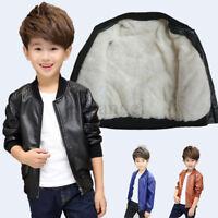 New Kids Boys winter Round Neck Leather Jacket Fleece warm Coat Outerwear Cool