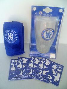 2012 Chelsea FC Mini Bar Beer Pint Glass Towel Coaster Collectible Set