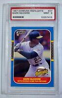 1987 Donruss Highlights Rookie Home Run Record Mark McGwire #27 A's  PSA 9
