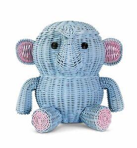 Large Blue Elephant Rattan Storage Basket Hand Woven Shelf Organizer Wicker Gift