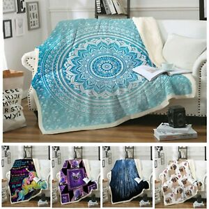 Plush Unicorn Mandala Sherpa Fleece Blanket Throw Rug Blanket Sofa Couch Warm