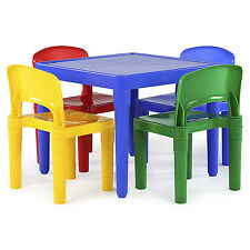 Kids Plastic Table 4 Chairs Toddler Play Room Craft Day Care Primary Color Set