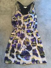 Urban Outfitters Silky Dress Silver purple lime green black animal print size s