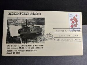 Ferryboat BROWNSTONE, Middletown, CT Naval Cover 1983 Picture Cachet w/ insert
