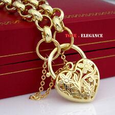 9ct 9k yellow gold filled GF padlock heart belcher ladies bangle bracelet
