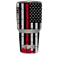 Skin Decal for Yeti 30 oz Rambler Tumbler / Red Line Subdued American Flag Fire