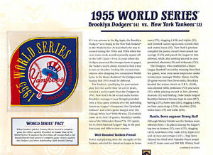 1955 WORLD SERIES PATCH CARD Willabee & Ward BROOKLYN DODGERS / NEW YORK YANKEES