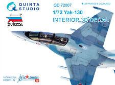 Quinta studio's QD72007 1/72 Yak-130 3D-Printed & coloured Interior (Zvezda)