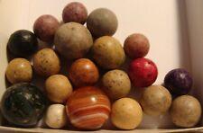 20 Marbles Antique Vintage Germany Clay Agates Bulls Eye Green Handmade Toys