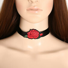 Vintage Choker Black Red Collar Necklace Rose Embroidery Choker 3 Styles 1pc