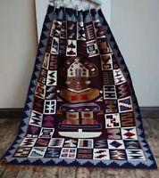 Vintage 1970s Peruvian Tribal inca ethnic aztec Rug 150cm x 109cm kilim retro