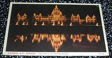 Night Lights On The Parliament Buildings Victoria B.C. Postcard Canada