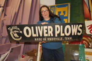 """Large Vintage Oliver Chilled Plows Farm Machinery Tractor Gas Oil 43"""" Metal Sign"""