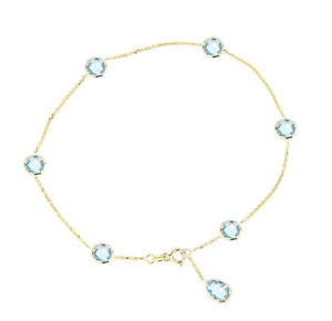 14K Yellow Gold Anklet With Blue Topaz Pear Shaped Drop 10 Inches