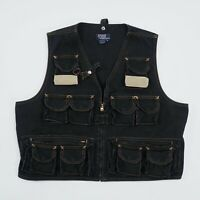 Vintage Polo Ralph Lauren Vest Mens Large Black Canvas Zip Snap Pockets Made USA